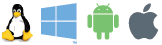 Windows, Linux, Mac OS X, Android